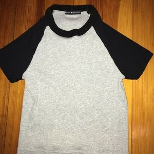 Brandy Melville black and grey cropped tee